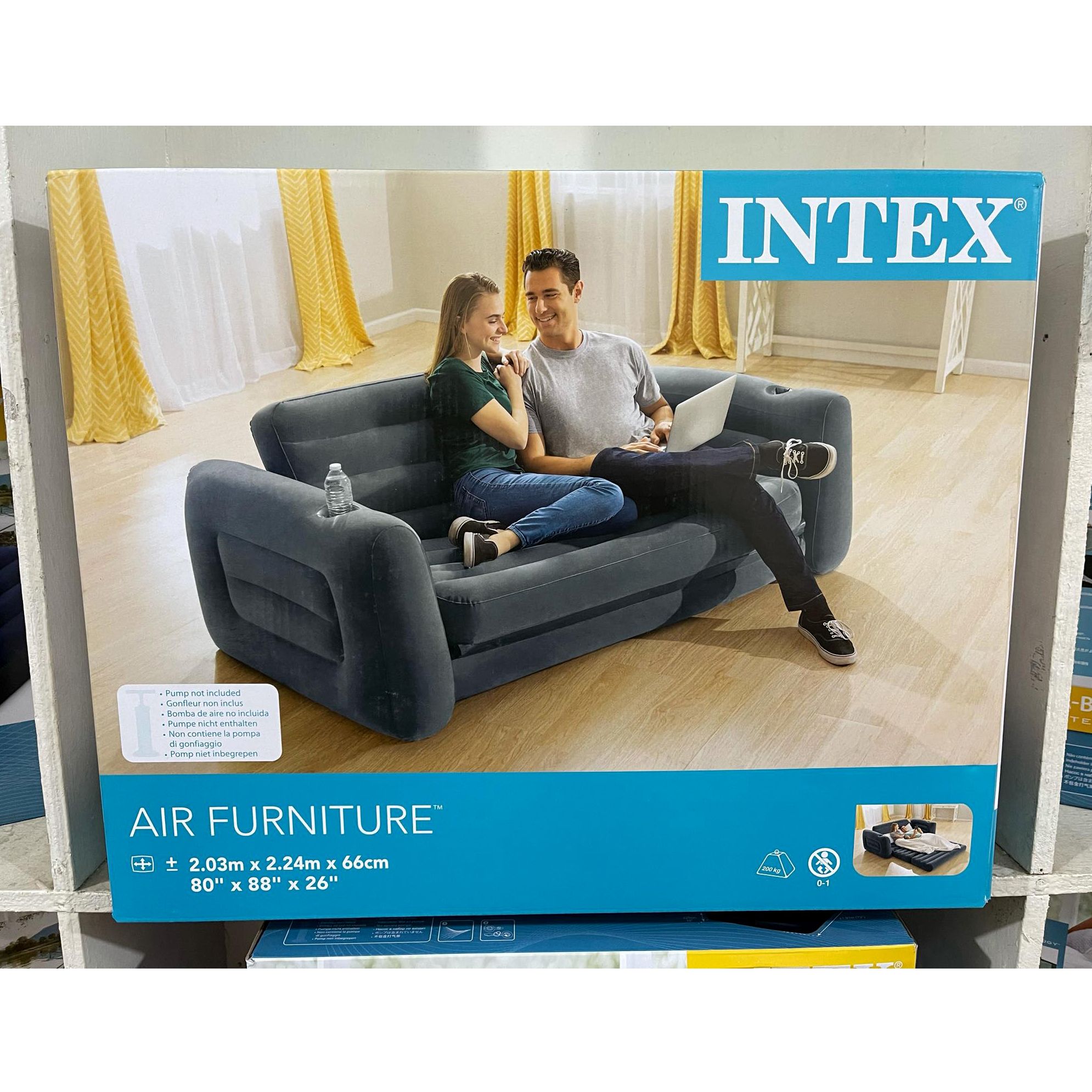 Intex Inflatable Pull-Out Sofa cum Bed with Pumper (Double